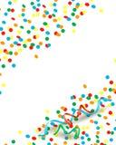 Confettien en wimpels, achtergrond met exemplaarruimte Stock Foto