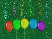 Confettienhulp het schilderen op geproduceerde marmeren textuurachtergrond Royalty-vrije Stock Foto's