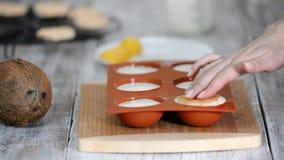 Confettiere che fa le cupole della mousse Dessert moderno della mousse archivi video