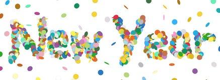 Confettis abstraits Word - lettre de nouvelle année - panorama coloré Vec Photo stock
