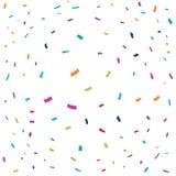 Confettis colorés avec le fond blanc, illustration de vecteur Image libre de droits