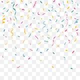 Confettis colorés Rubans de couleur de célébration Décor de festival avec des scintillements brillants en baisse Vecteur illustration stock
