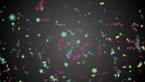 Confettis colorés tombant vers le bas dans le mouvement lent au-dessus du fond noir illustration libre de droits