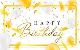 Confettis d'aluminium de bannière de partie de célébration de vecteur de joyeux anniversaire et ballons d'or d'or de blanc et de  illustration de vecteur