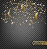 Confettis d'or et d'argent Élément décoratif de fête pour des cartes de voeux Photo stock