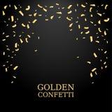 Confettis d'or Texture de scintillement d'or sur un fond noir Chute de confettis Élément de conception Illustration de vecteur Images libres de droits