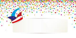 Confettis de carnaval et chapeau traditionnel avec la bannière blanche pour votre texte d'isolement sur un fond blanc illustration libre de droits