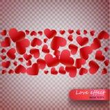 Confettis de coeur des pétales de valentines tombant sur le fond transparent Fond de jour de valentines de la chute rouge de péta illustration stock