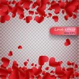 Confettis de coeur des pétales de valentines tombant sur le fond transparent Fond de jour de valentines de la chute rouge de péta illustration libre de droits