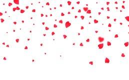Confettis de coeur Fond pour le jour de Valentines Coeurs de Valentine de vol Images libres de droits