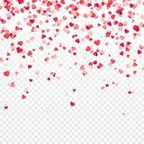Confettis de coeur Valentines, femmes, fond de jour de mères avec tomber coeurs de papier rouges et roses, pétales salutation illustration de vecteur