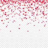 Confettis de coeur Valentines, femmes, fond de jour de mères avec tomber coeurs de papier rouges et roses, pétales salutation illustration libre de droits