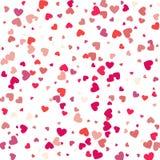 Confettis de coeur de vol, fond de vecteur de jour de valentines, romanti Images libres de droits