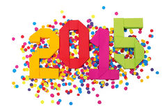 Confettis de la nouvelle année 2015 Photographie stock libre de droits