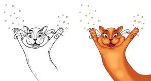 Confettis de lancement de chat heureux Images libres de droits