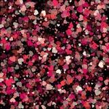 Confettis de papier rouges et roses de vecteur de forme de coeur d'isolement sur le noir Photos libres de droits