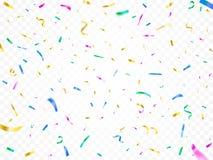 Confettis en baisse colorés Décor de partie de festival de Noël, papiers brillants décoratifs de carnaval et flammes de papier vo illustration stock