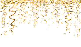 Confettis en baisse d'or Images stock