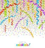 Confettis et flammes multicolores de partie Photos libres de droits