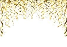 Confettis et rubans en baisse d'or illustration libre de droits