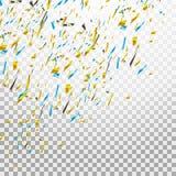 Confettis lumineux colorés d'isolement sur le fond transparent illustration de fête Image stock