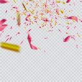 Confettis lumineux colorés d'isolement sur le fond transparent illustration de fête Photographie stock
