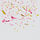 Confettis lumineux colorés sur le fond transparent illustration de fête Photo stock