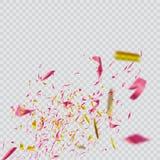 Confettis lumineux colorés sur le fond transparent illustration de fête Image libre de droits