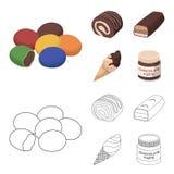 Confetto, rotolo, barra di cioccolato, gelato I dessert del cioccolato hanno messo le icone della raccolta nel fumetto, simbolo d Fotografia Stock