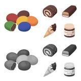 Confetto, rotolo, barra di cioccolato, gelato I dessert del cioccolato hanno messo le icone della raccolta nel fumetto, vettore m Immagini Stock Libere da Diritti