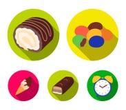 Confetto, rotolo, barra di cioccolato, gelato I dessert del cioccolato hanno messo le icone della raccolta nelle azione piane di  Immagini Stock