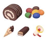 Confetto, rotolo, barra di cioccolato, gelato I dessert del cioccolato hanno messo le icone della raccolta nelle azione di simbol Immagini Stock