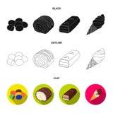 Confetto, rotolo, barra di cioccolato, gelato I dessert del cioccolato hanno messo le icone della raccolta in nero, piano, vettor Fotografia Stock