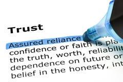 Confiança com marcador azul Imagens de Stock Royalty Free