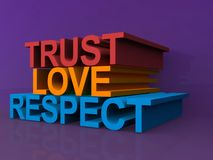 Confiance, amour, respect images stock