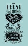 Confiance biblique de lettrage de main dans le seigneur avec votre coeur illustration libre de droits
