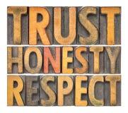 Confiance, honnêteté, abrégé sur mot de respect dans le type en bois photo stock