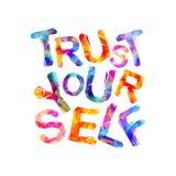 Confiance vous-même Inscription de motivation Lettres triangulaires Image stock