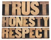 Confianza, honradez, palabras del respecto Foto de archivo libre de regalías