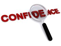 Confidence. Magnifying glass hovering over the word confidence.  Isolated against a white background Stock Image