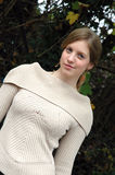 Confidence. Young cofient woman wearing an autumn jumper Stock Photography