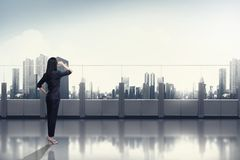 Confidence Asian Business Woman Looking At The Sky Royalty Free Stock Photography