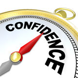 Confidence - Compass Leads You to Success and Growth. A compass with the word Confidence leads you to success by finding your inner strength needed to direct you Royalty Free Stock Image