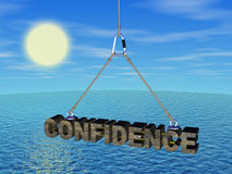 Confidence on the cord under the sea Royalty Free Stock Photo