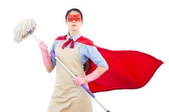 Confidence and faith super hero housewife. Holding mop ready to doing the cleaning job. isolated on white background. housework and household concept Stock Photos