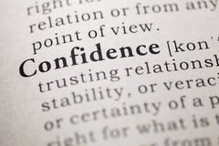Confidence. Fake Dictionary, Dictionary definition of the word confidence. including key descriptive words Stock Photo