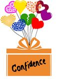 CONFIDENCE on gift box with multicoloured hearts Stock Photo