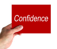 Confidence. Hand hold a card with text of Confidence royalty free stock images