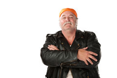 Confidence Man. Confident biker gang member with leather jacket Royalty Free Stock Image
