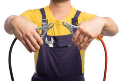 Free Confidence Mechanic Car Jumper Cables Stock Photos - 77072983